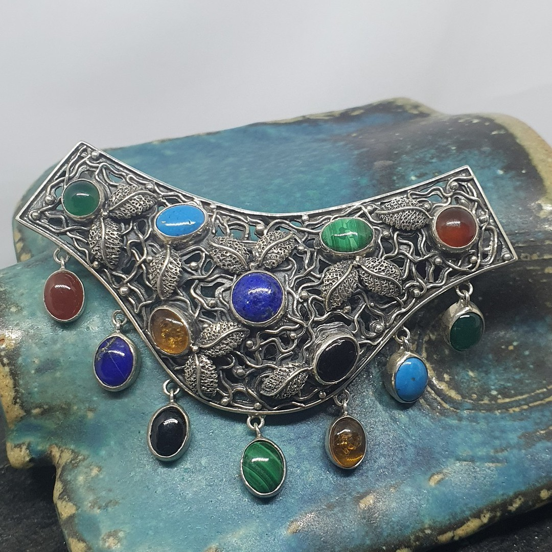 Large gemstone silver pendant - Doubles as a brooch image 0