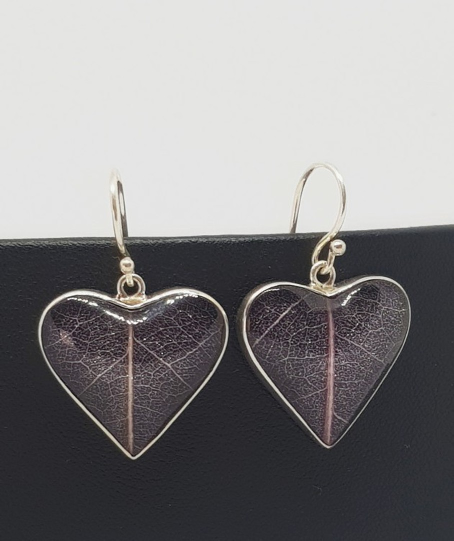 Purple skeleton leaf silver earrings - heart shaped image 4
