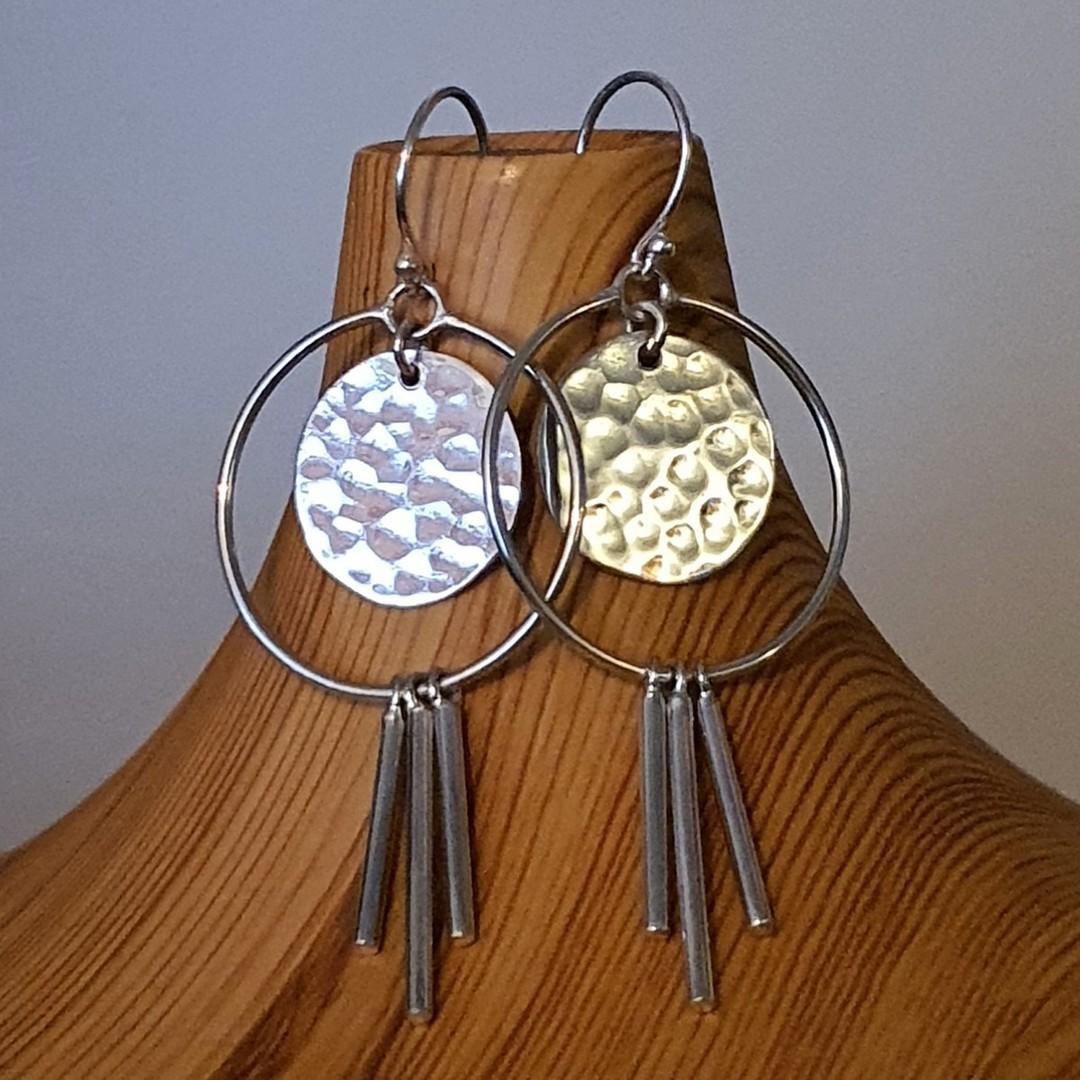Modern funky silver earringsd image 2