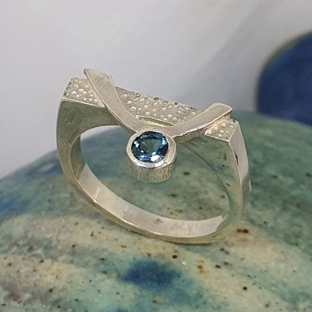 Blue topaz silver ring image 5