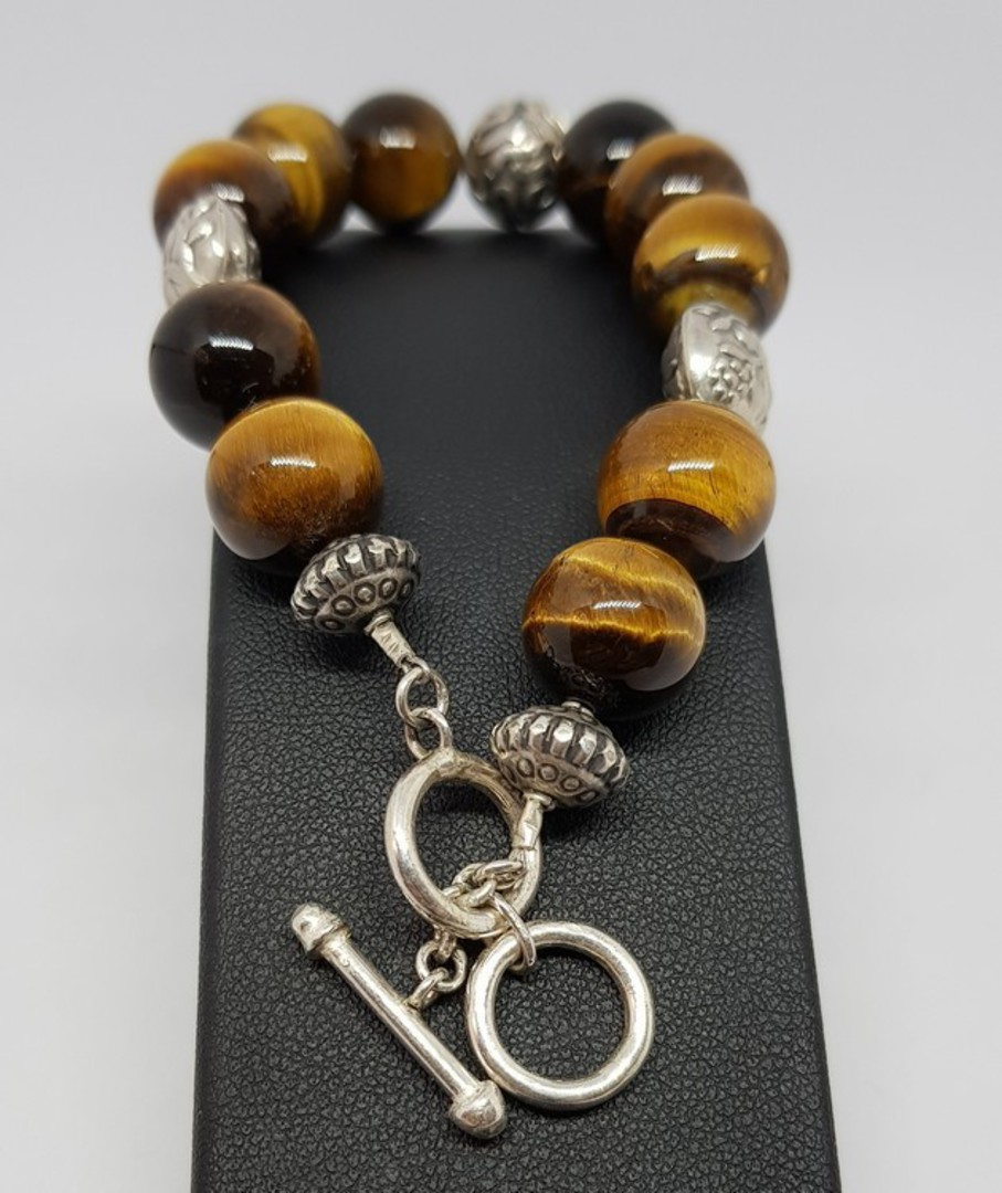 Tigers eye and Balinese silver beaded bracelet image 2