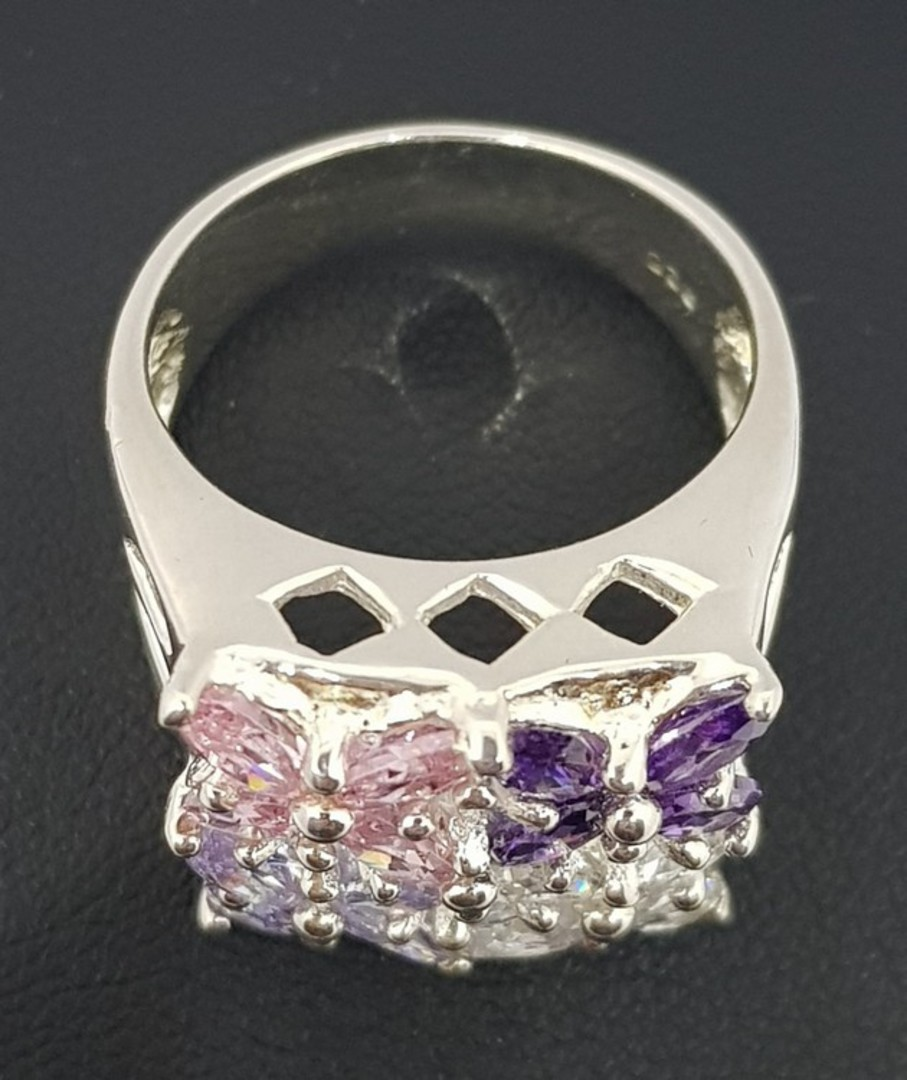 Flower dress ring with purple, pink and cz gems image 1