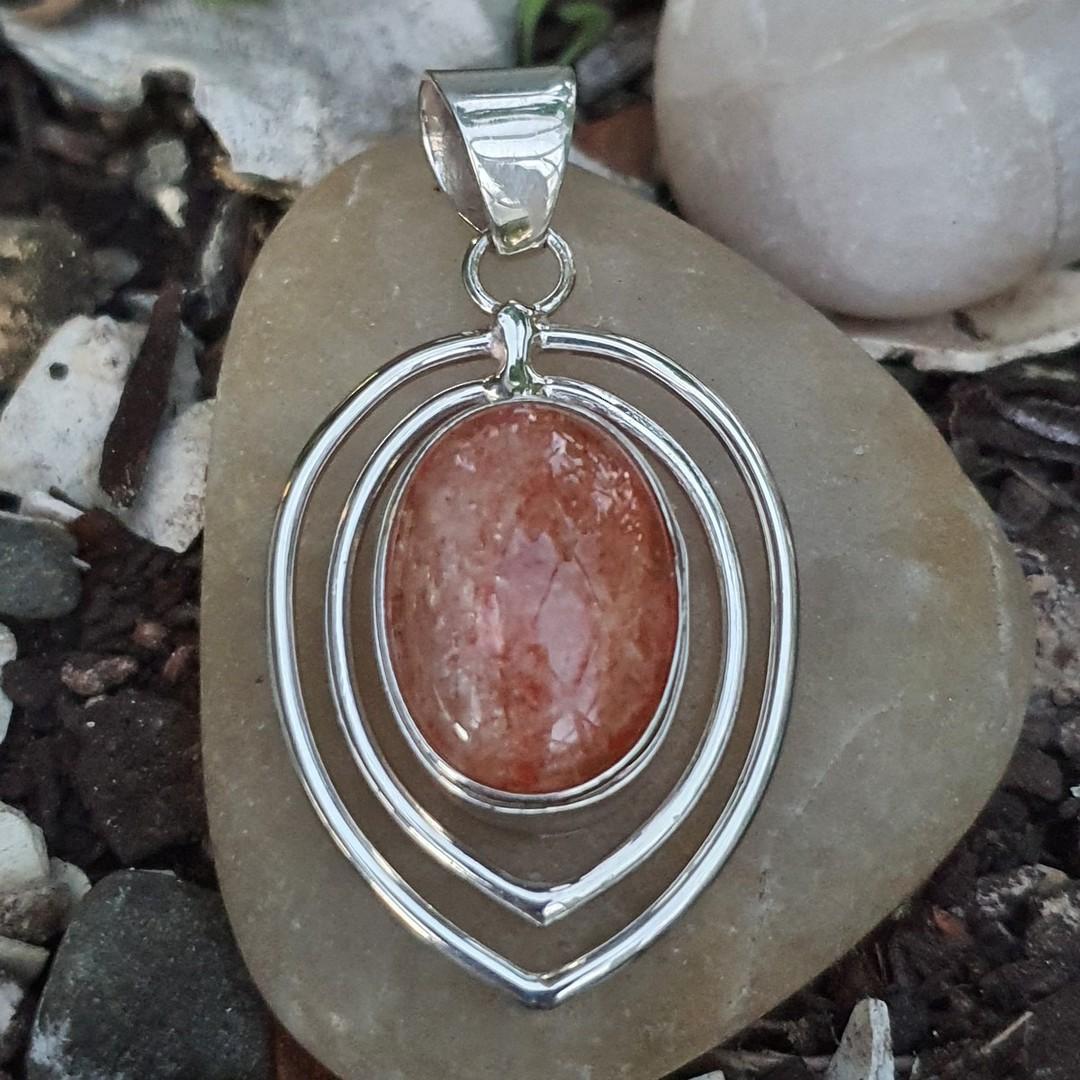 Open teardrop silver sunstone pendant image 0