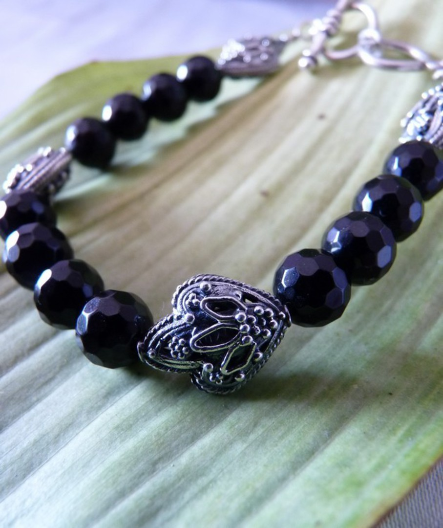 Facet cut black onyx beads and silver bracelet image 3