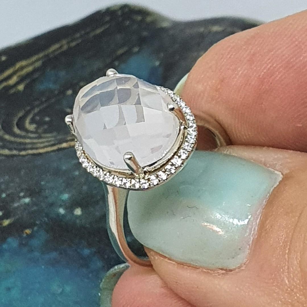 Large oval rose quartz silver ring image 3