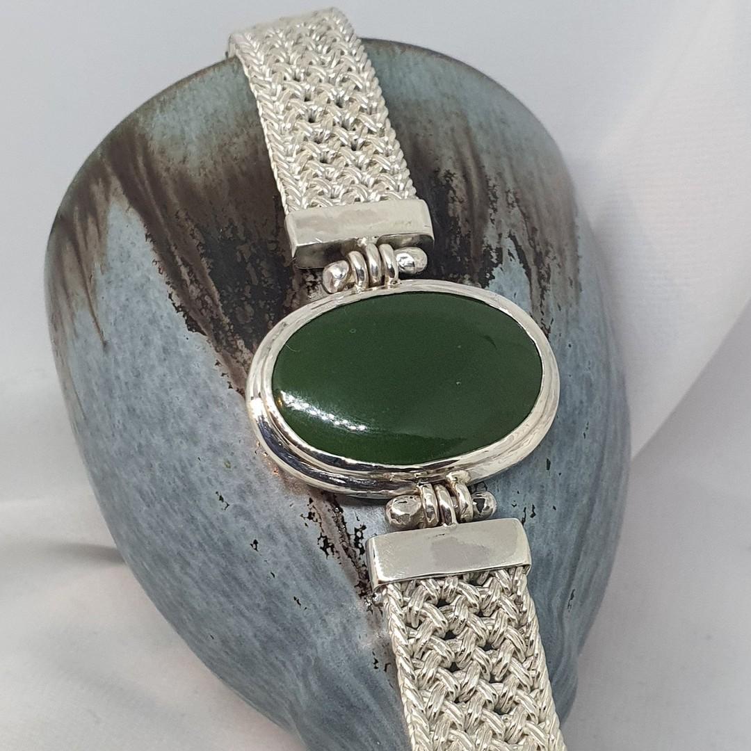 Made in New Zealand, silver greenstone bracelet image 3