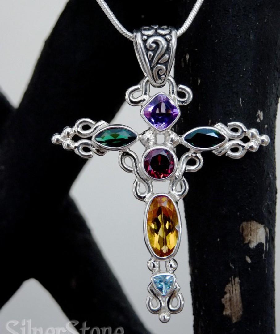 Sparkling coloured gemstone silver pendant cross necklace image 2