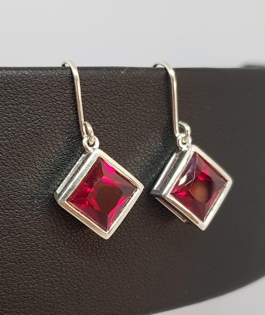 Sparkling red, princess cut synthetic ruby earrings image 1