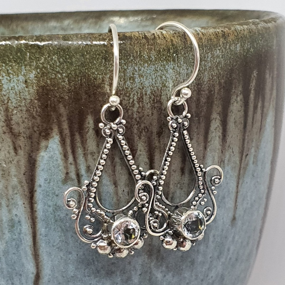 Sterling silver filigree blue topaz earrings image 2