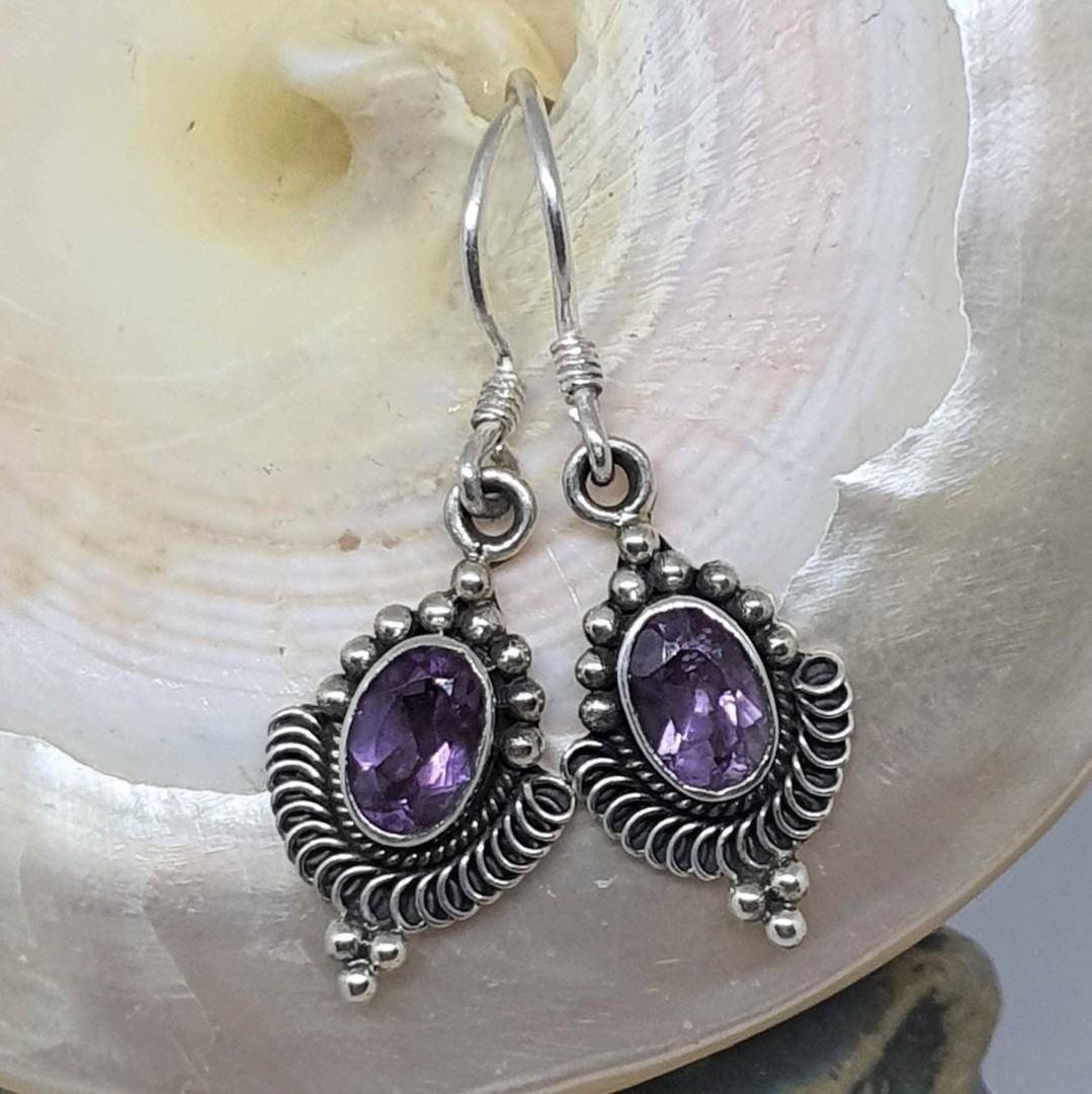 Sterling silver delicate amethyst earrings image 0