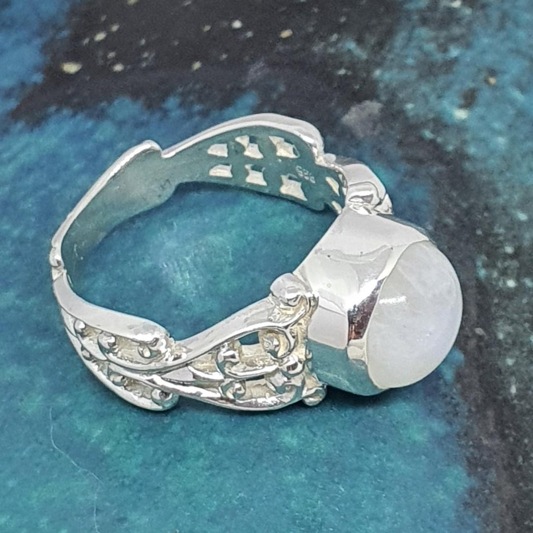 Sterling silver moonstone gemstone ring image 1