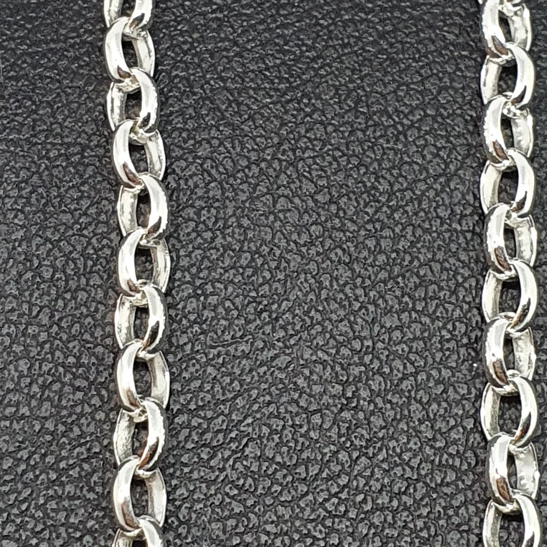 Sterling silver oval belcher chain, 60cms long image 2