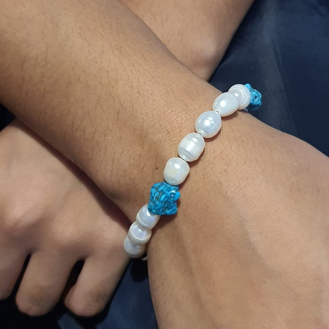 Fresh water pearls and tumbled turquoise bracelet image 2