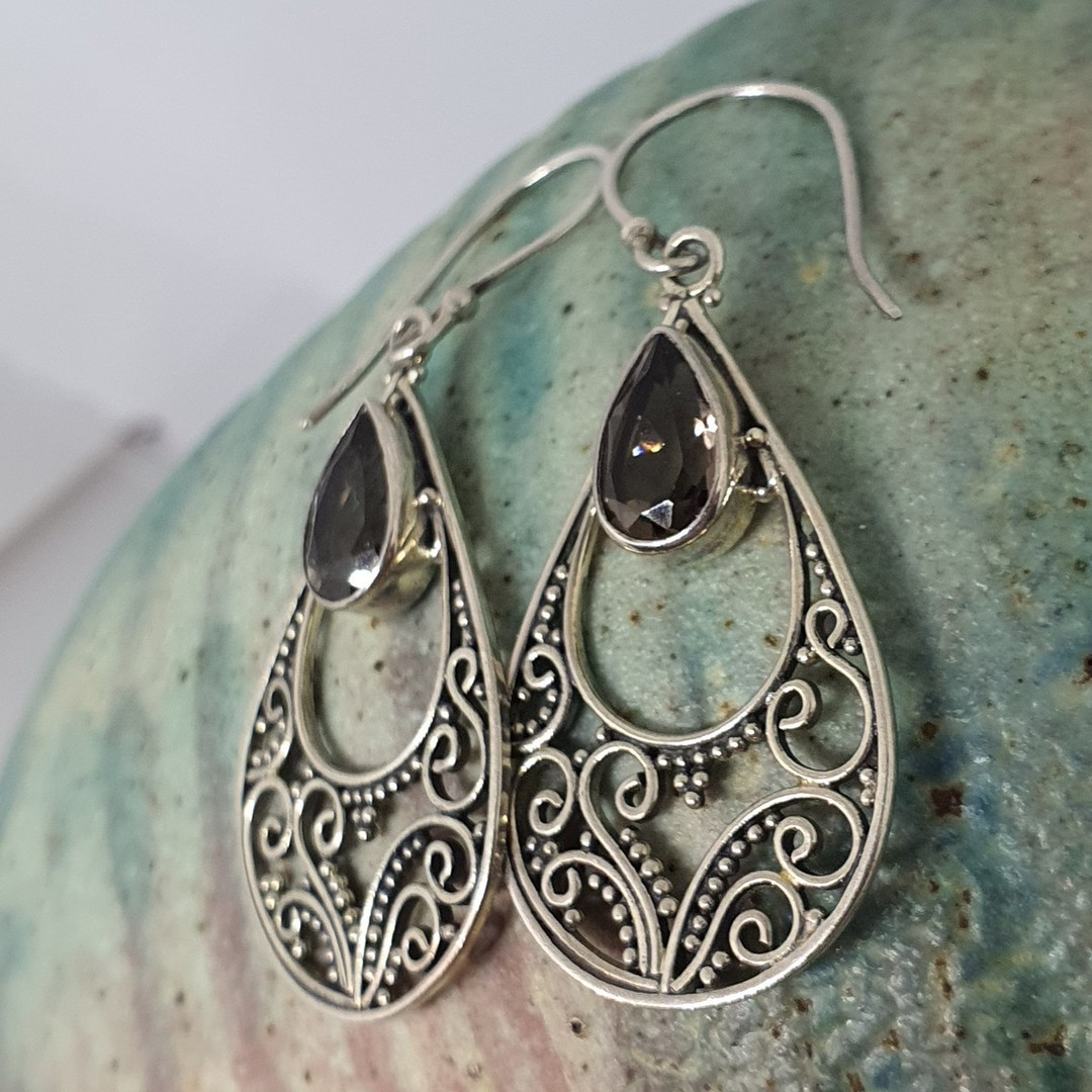 Romantic filigree silver smoky quartz earrings image 1