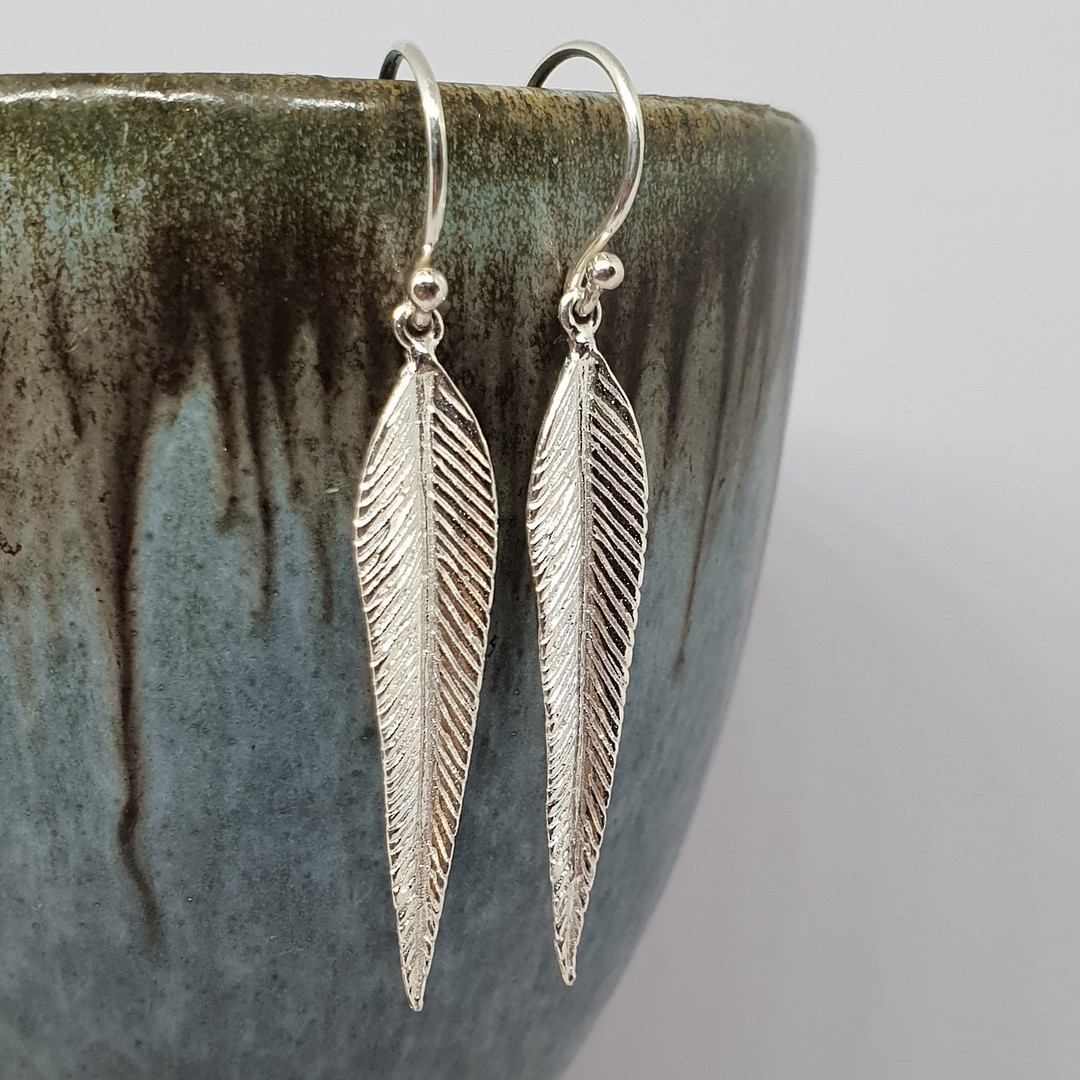 Long delicate sterling silver feather earrings image 1