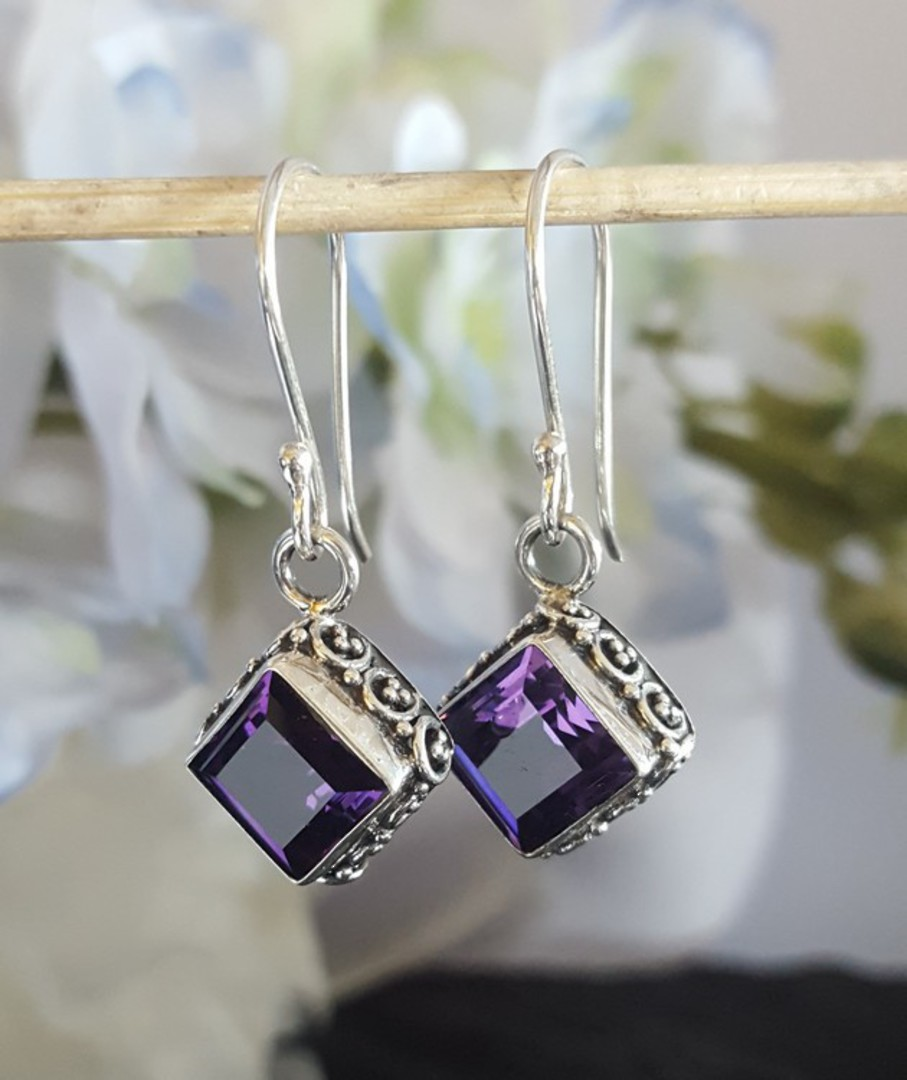 Dazzling sterling silver amethyst earrings image 0