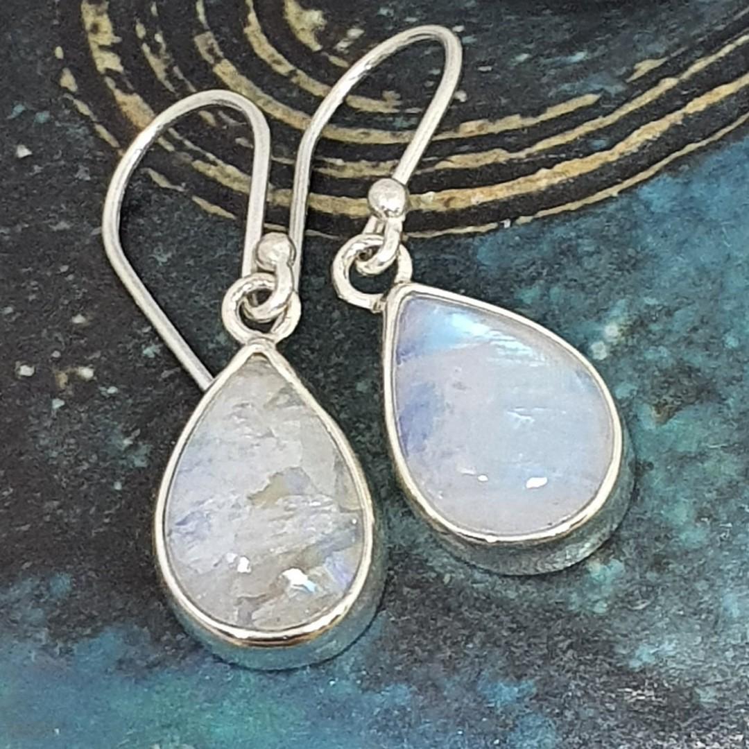 Teardrop moonstone silver earrings, sterling silver image 0