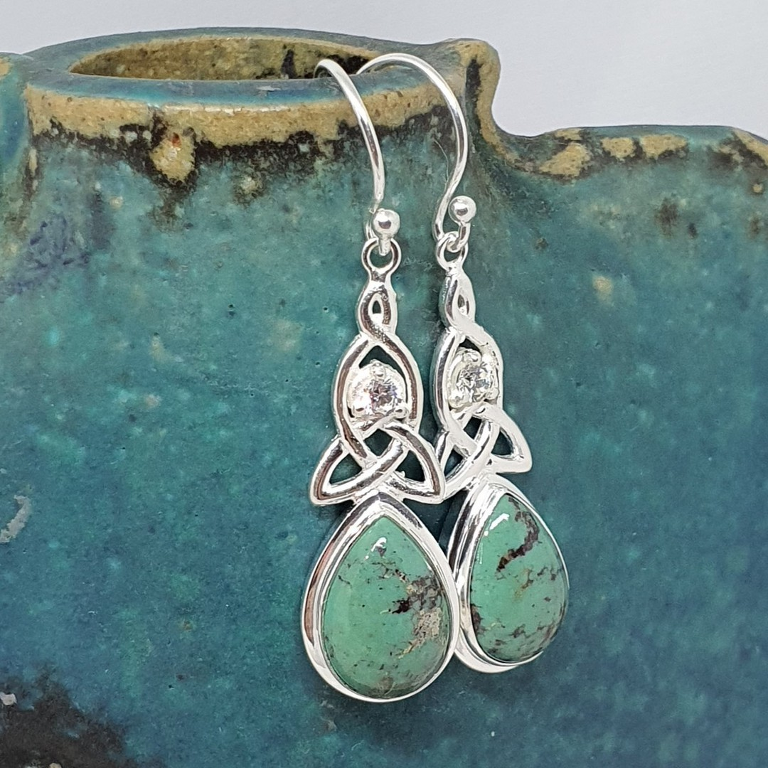 Silver turquoise earrings with infinity knot and cz image 1