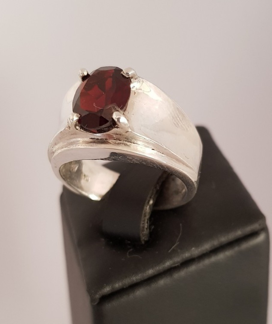 Wide silver band ring with red garnet gemstone image 0
