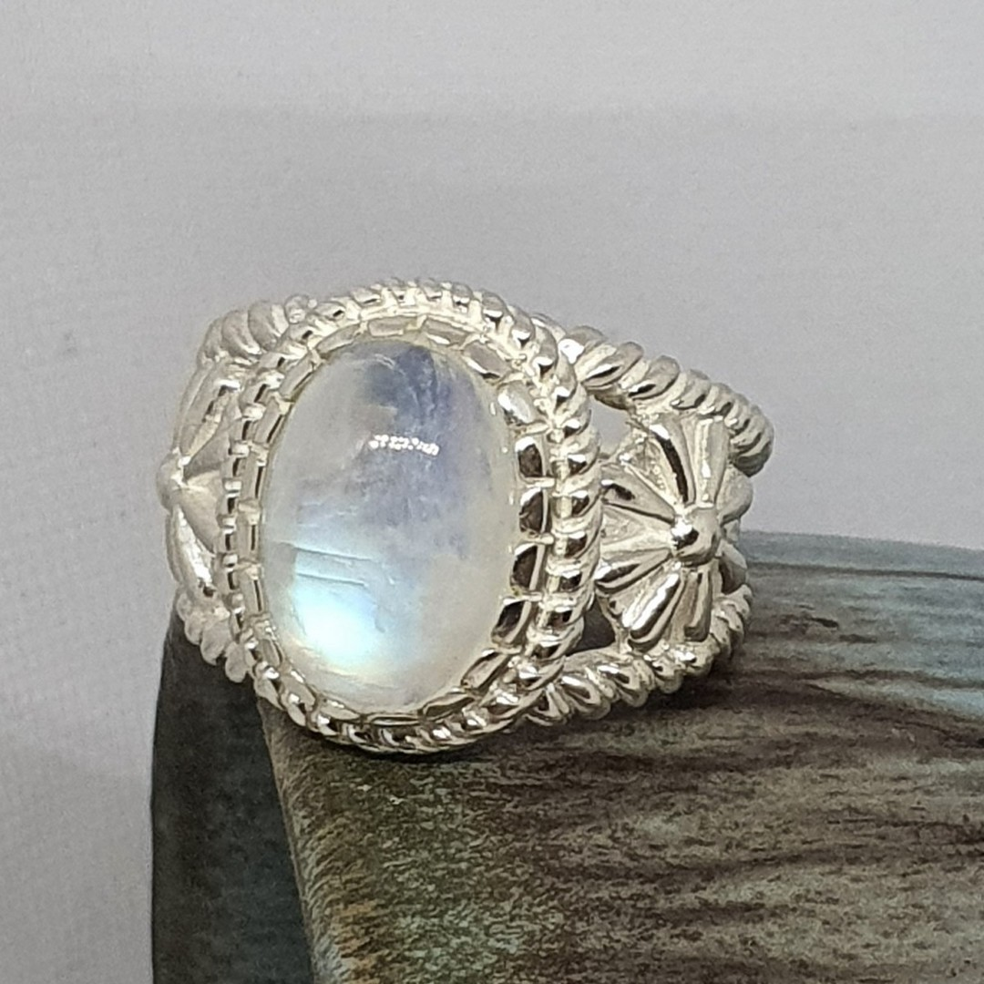 Sterling silver moonstone flower ring image 0