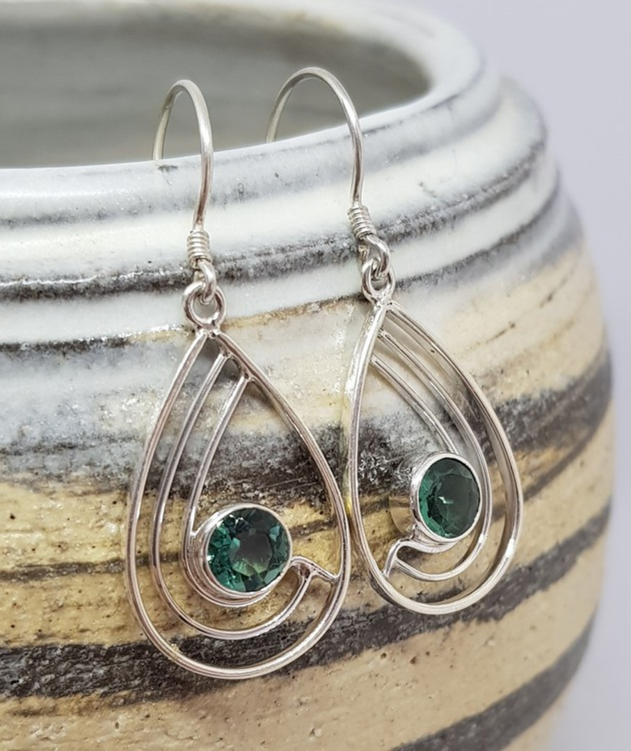 Green quartz open teardrop silver earrings image 2