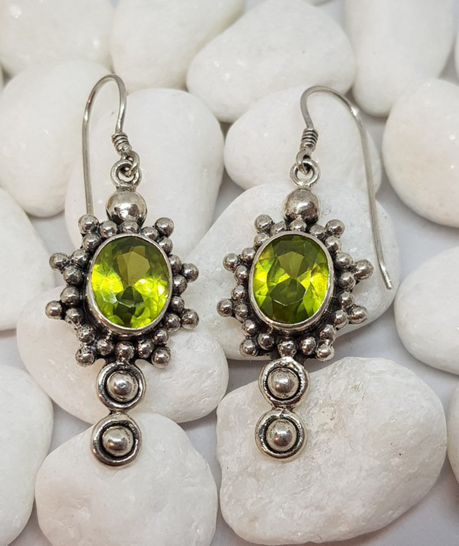 Large ornate silver peridot earrings with a gorgeous image 4