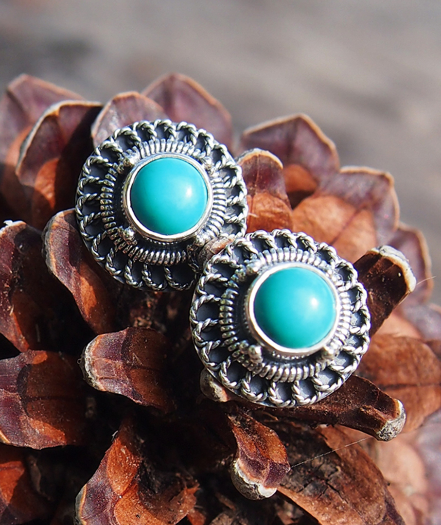 Silver turquoise stud earrings image 0