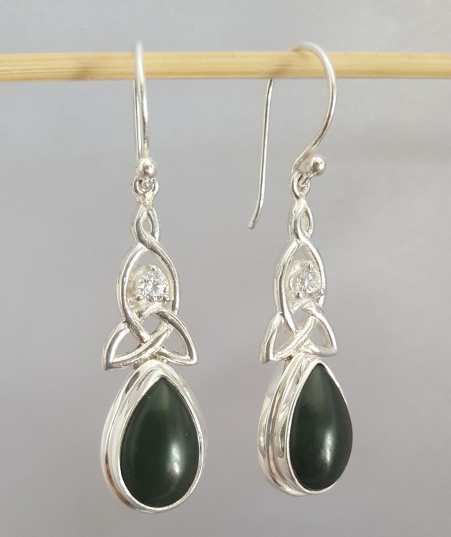 NZ greenstone (pounamu) silver earrings image 2