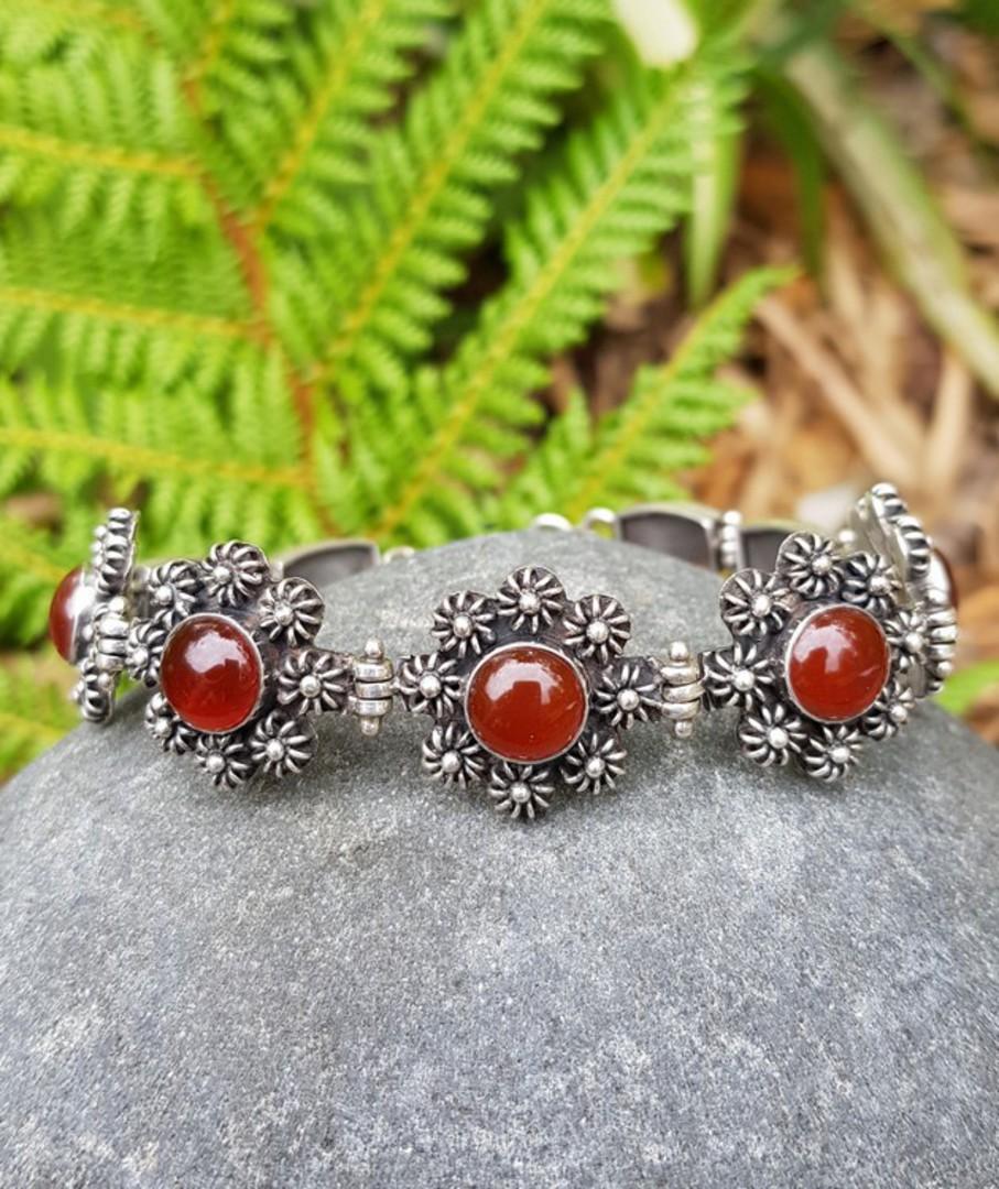 Sterling silver carnelian bracelet - price reduced image 1