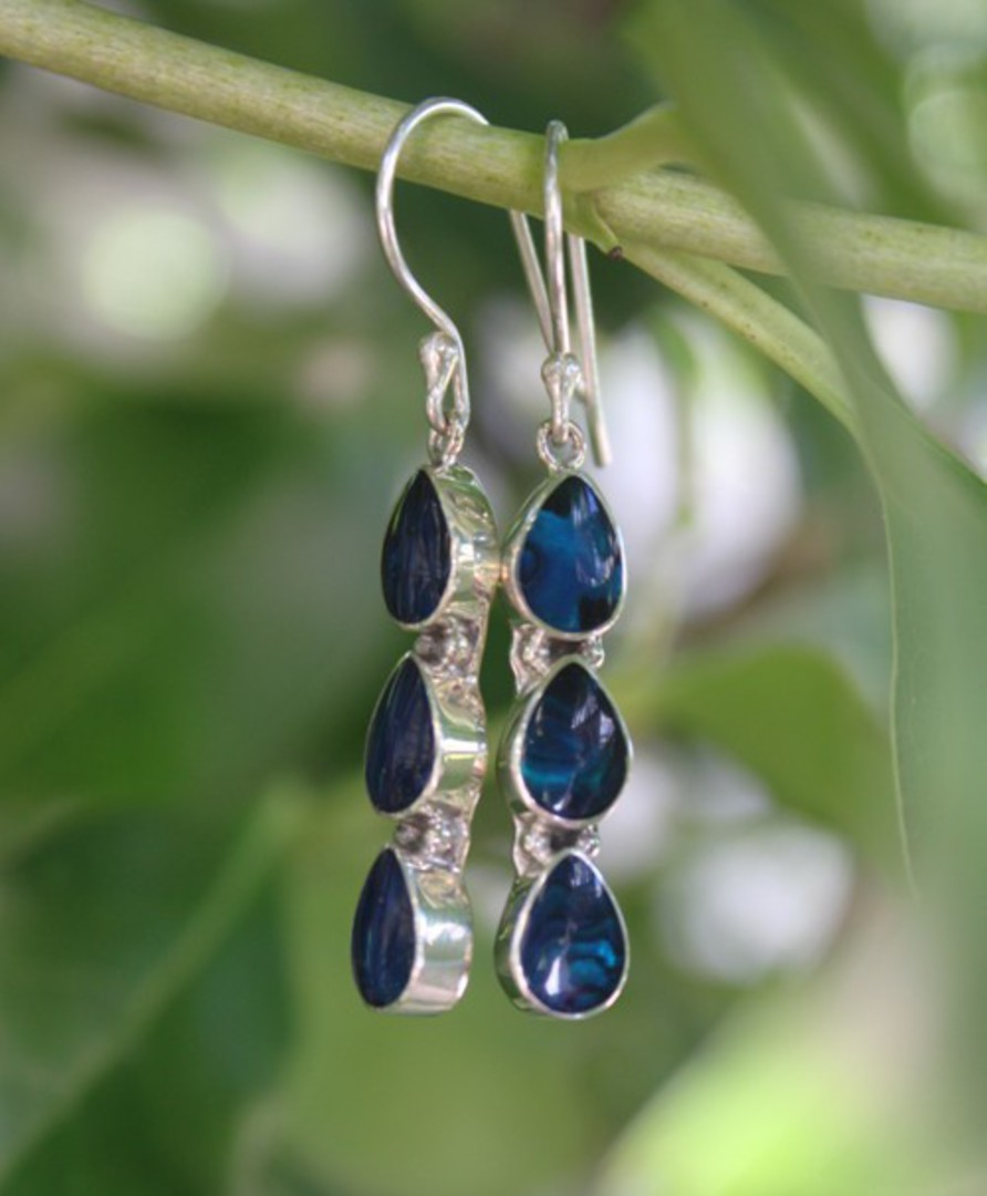 Dyed blue paua shell earrings - free delivery in NZ image 2