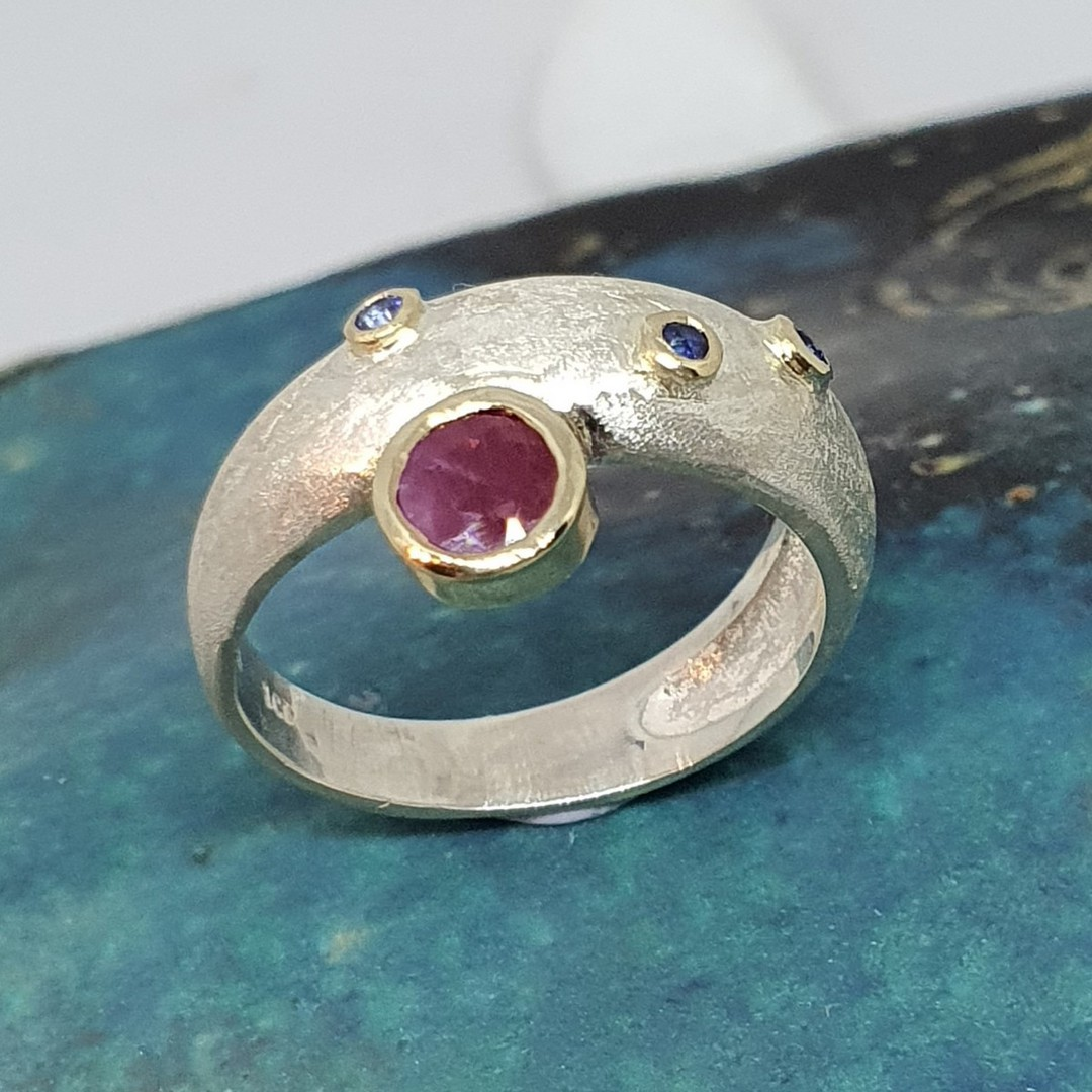 Made in NZ silver ruby and sapphire ring image 2