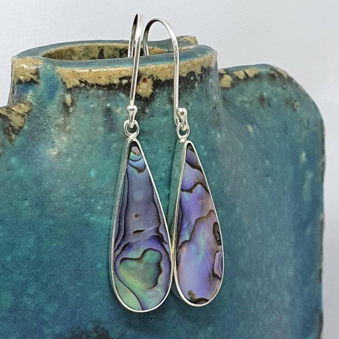 Elongated teardrop paua shell hook earrings image 1
