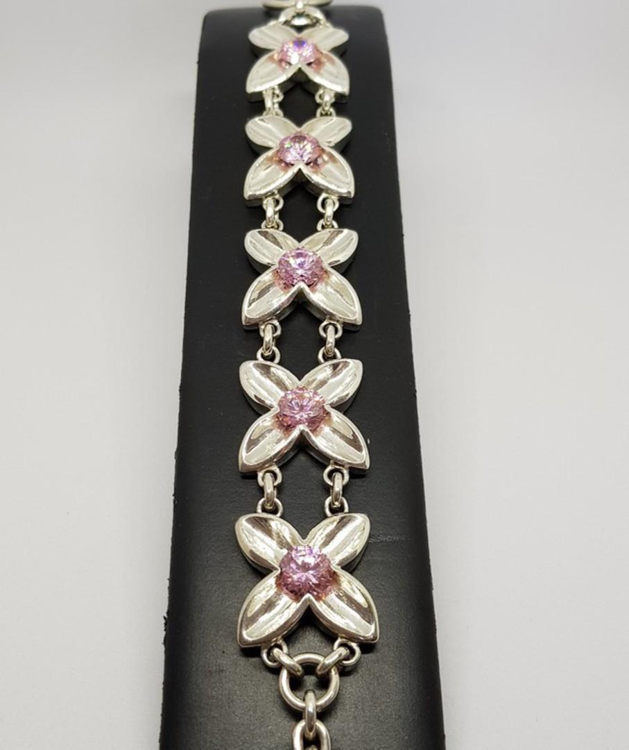 Sterling silver pink gemstone bracelet image 1