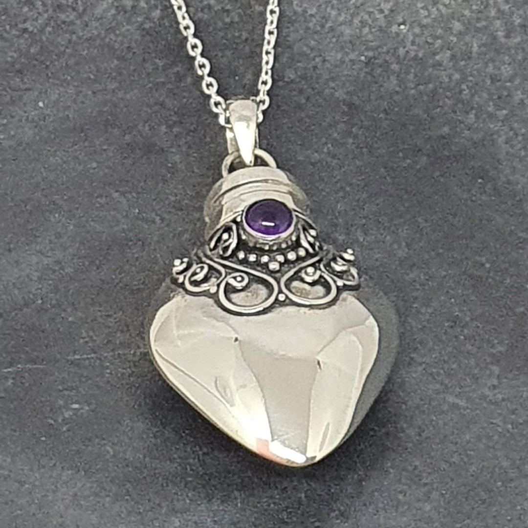 Sterling silver prayer box, genie bottle amethyst pendant image 2