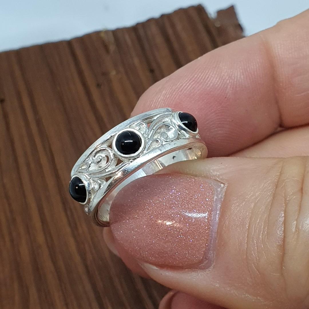 Sterling silver black onyx ring with koru swirls image 2
