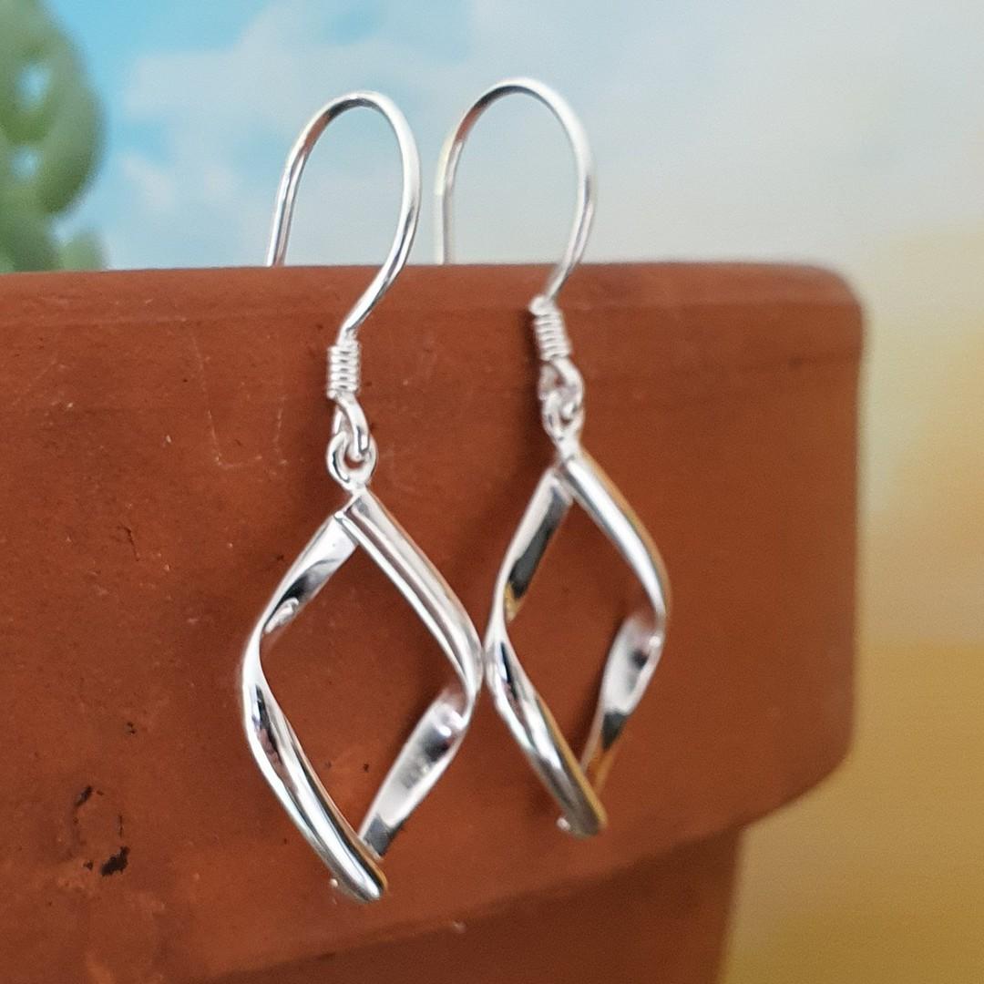 Sterling silver small hooked hoop earrings image 0