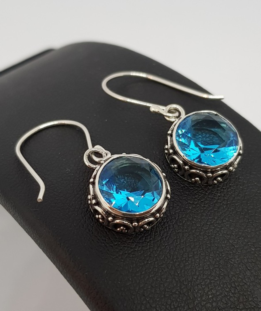 Dazzling blue topaz silver hook earrings image 0