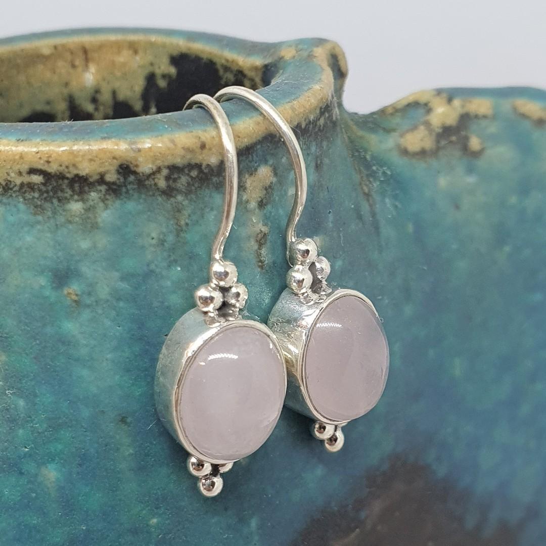 Sterling silver rose quartz hook earrings image 0