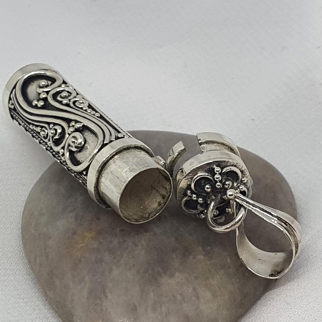 Silver filigree silver prayer or wish box pendant image 1