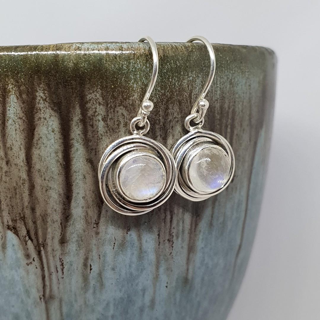 Circular silver moonstone earrings image 1