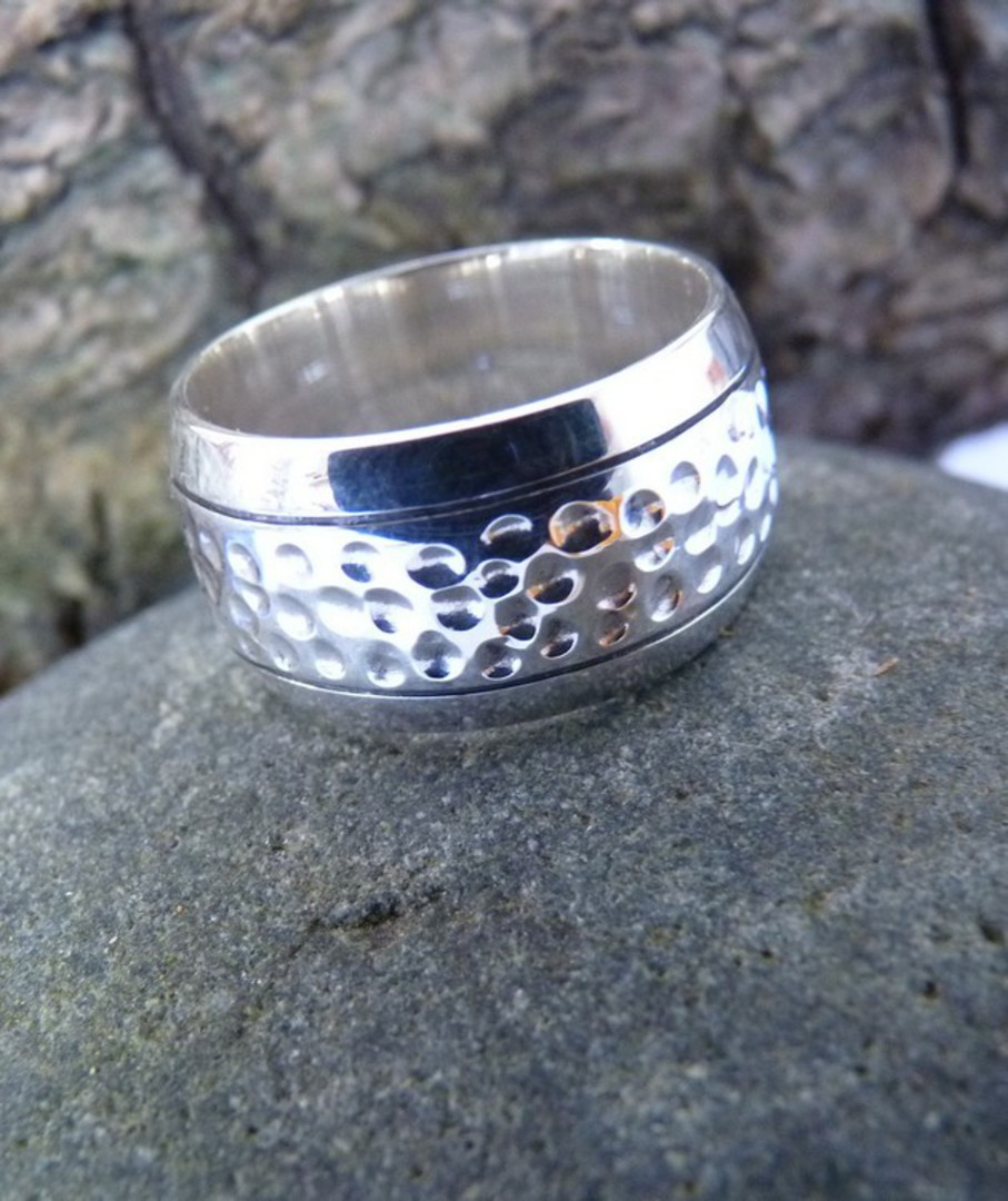 Sterling silver wide band ring  with hammered detail image 2