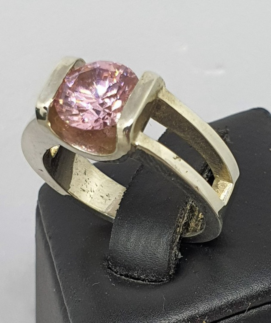 Sterling silver pink gemstone ring - made in NZ image 1