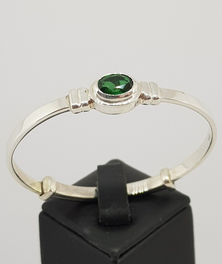 Sterling silver May baby birthstone bangle image 0