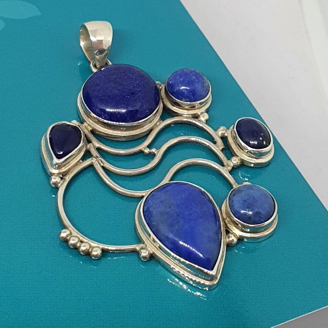Large sterling silver lapis lazuli pendant image 3