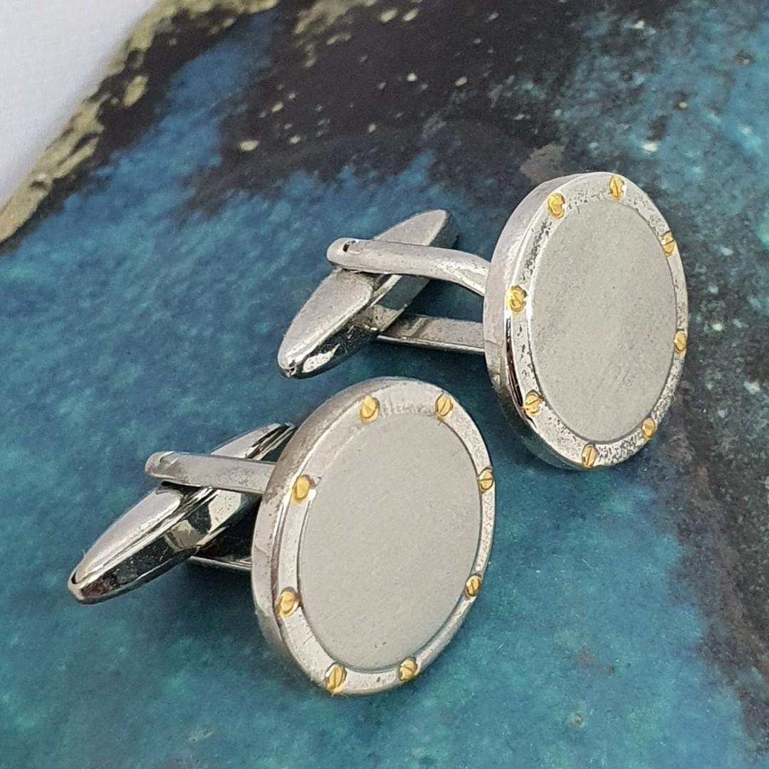 Round silver tone cufflinks with gold flecks image 3
