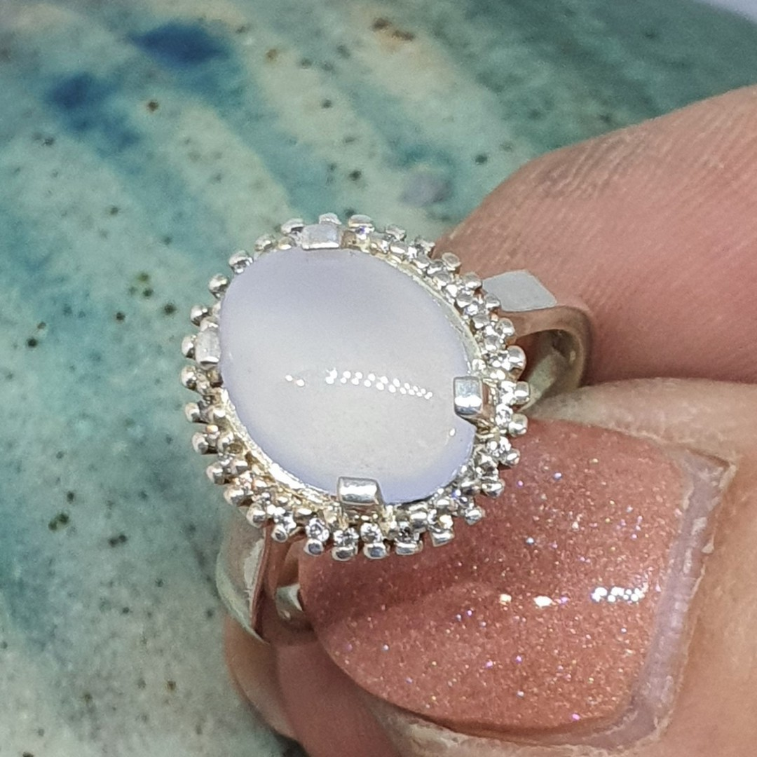 Sterling silver chalcedony ring image 0