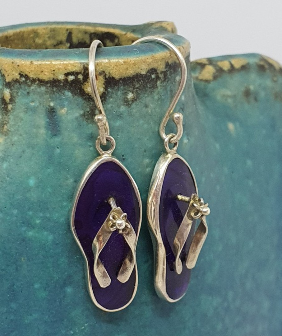 Silver Paua Shell Jandal Earrings - dyed purple! image 1