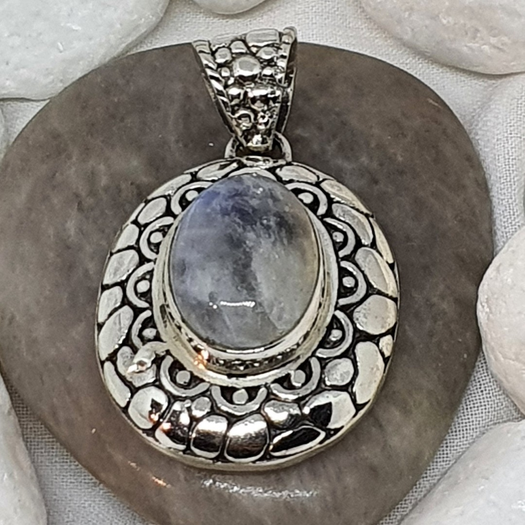 Sterling silver oval moonstone pendant image 1