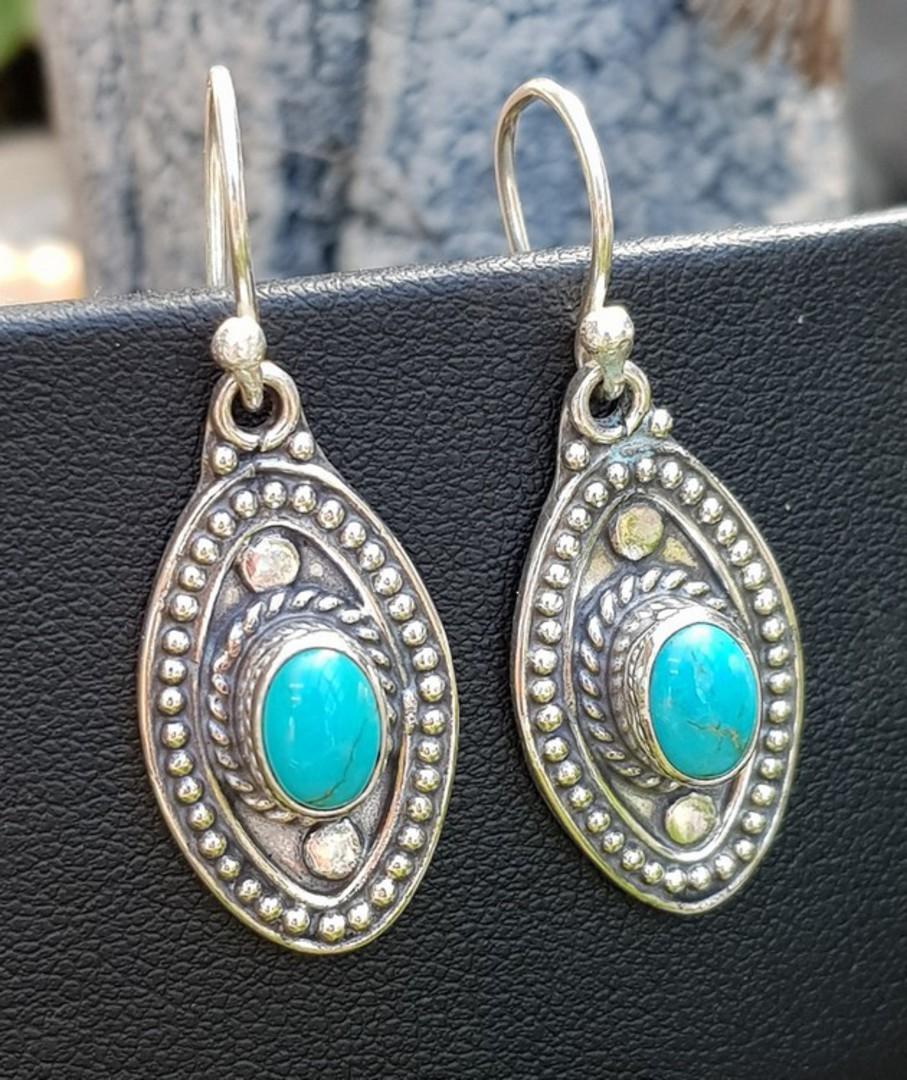 Sterling silver hook turquoise earrings image 0