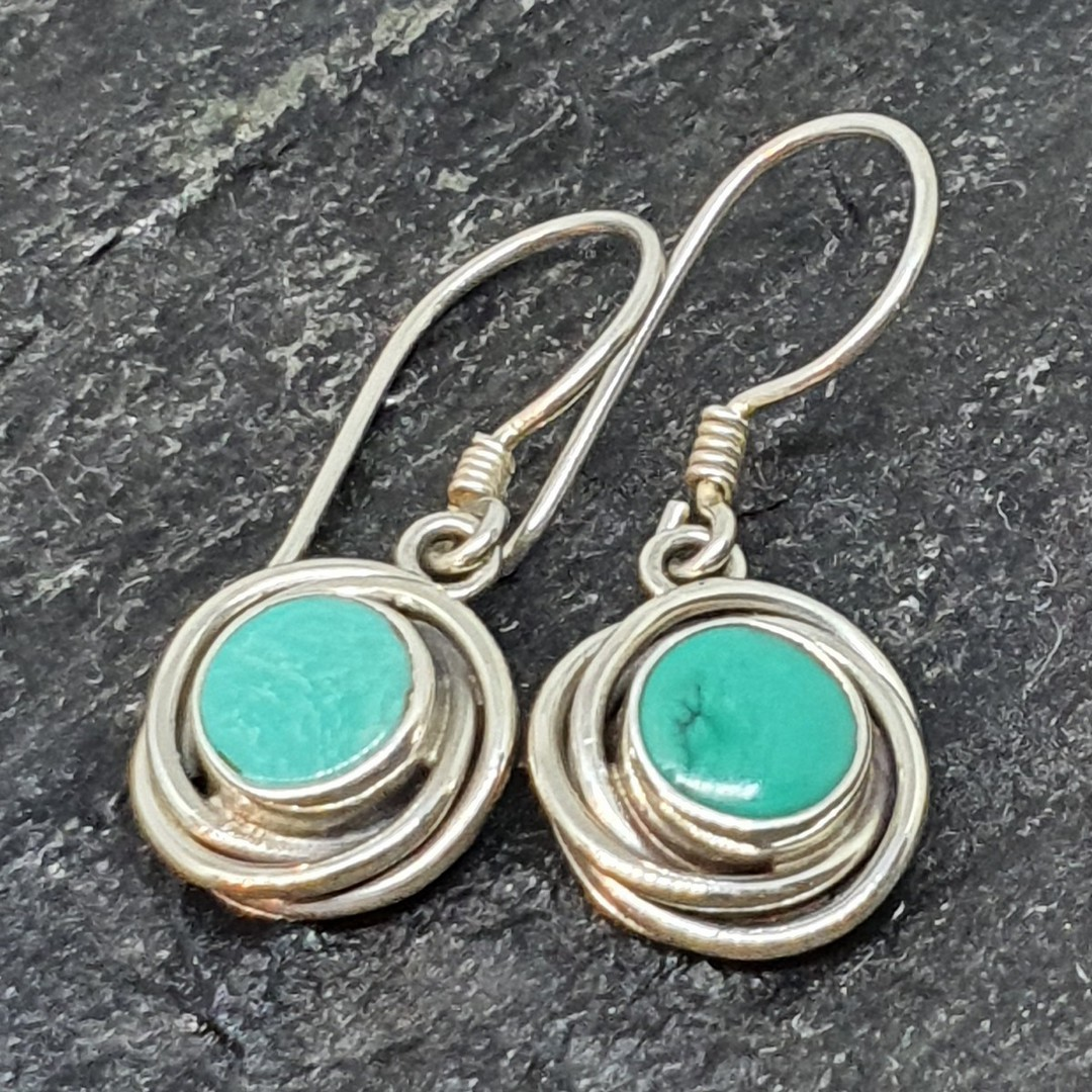 Sterling silver round turquoise earrings image 2